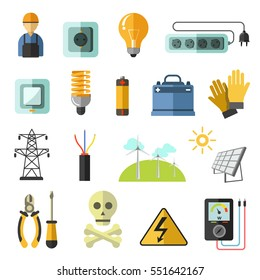 Electricity equipment icons set. Vector collection symbols and signs of power, voltage and energy: electric line and plug, socket, bulb, battery, electrician engineer. Illustrations in flat design