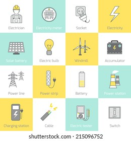 Electricity flat line icons set with socket solar battery windmill vector illustration