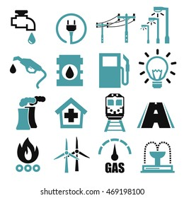 electricity, gas, water, public utility icon set