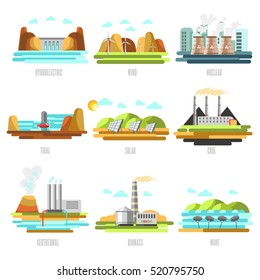 Electricity generation plants and sources solar, wind, water, petroleum, coal, geothermal, gas, nuclear and biofuel. Vector Illustration.