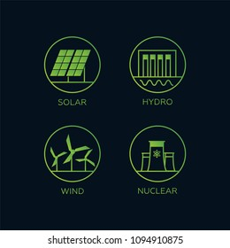 Electricity generation sources. Hydroelectricity, geothermal, so