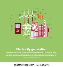 Electricity Generation Station Industry Web Banner Flat Vector illustration