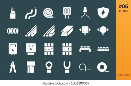 Electricity glyphs icons set. Set of cable hank, electrical wires, junction box, electricity meter, outlets and switches, terminal connectors, din rail busbar, circuit breaker solid vector icon