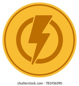 Electricity golden coin icon. Vector style is a gold yellow flat coin symbol.