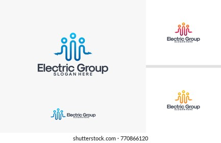 Electricity Group logo designs vector, Electricity Logo template