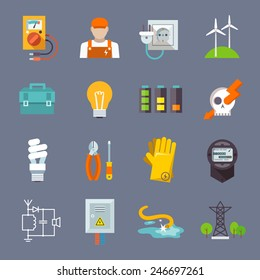 Electricity icon flat set with multimeter electrician socket pylon isolated vector illustration