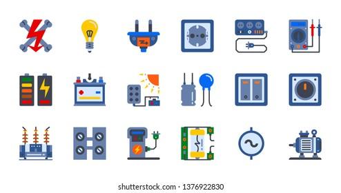 Electricity icon set