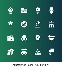 electricity icon set. Collection of 16 filled electricity icons included Beater, Windmill, Electric car, Idea, Factory, Desk lamp, No trucks, Inspiration, Lamp, Bulb