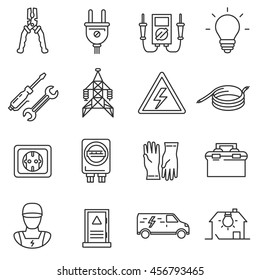 electricity icon set. electrician tools collection. Thin line design