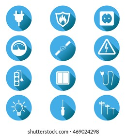 Electricity icon. Vector illustration in flat style on blue circle background with shadow.