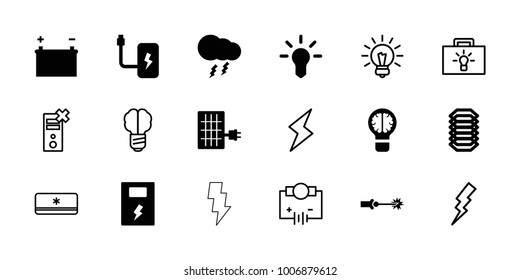 Electricity icons. set of 18 editable filled and outline electricity icons: bulb, thunderstorm, battery, electric circuit, solar panel, flash, electricity, brain bulb