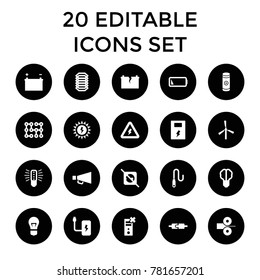 Electricity icons. set of 20 editable filled electricity icons such as mill, brain bulb, bulb, no plug, battery. best quality electricity elements in trendy style.