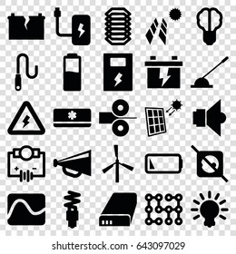 Electricity icons set. set of 25 electricity filled icons such as mill, megaphone, battery, arm lever, wire, low battery, air conditioner, fluorescent lamp, lamp