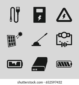 Electricity icons set. set of 9 electricity filled icons such as arm lever, wire, battery, broken battery, voltage warning, solar panel