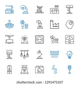 electricity icons set. Collection of electricity with traffic light, flash, web plugin, nuclear plant, battery, idea, air conditioner. Editable and scalable electricity icons.
