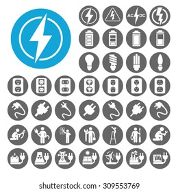 Electricity icons set. Illustration EPS10