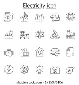 Electricity icons set in thin line style