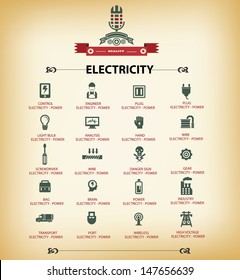 Electricity icons,Retro version,vector