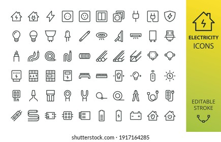 Electricity isolated icon set. Set of home electrification, electrical wire and cable, lightbulb, led lamp, electricity meter, junction box, outlet and switch, extension cord, power strip vector icons
