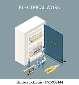 Electricity isometric composition with conceptual images of electrical distribution box switchboard and small characters of workers vector illustration