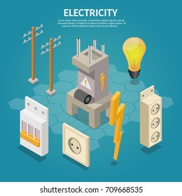 Electricity isometric elements of transformer, bulb, socket, extension, switch, column.