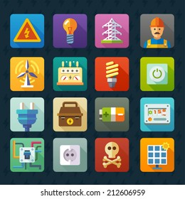 Electricity and light. Vector flat icon set: voltage light bulbs, power line repair, electrician tools button, counter, battery, battery, plugs, sockets, circuit, skull