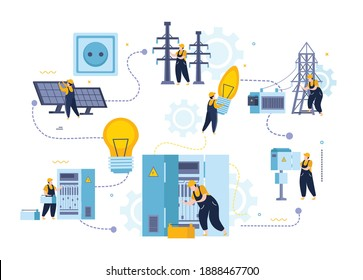 Electricity and lighting flat composition with characters of electrical fitters with power panels and infrastructure elements vector illustration