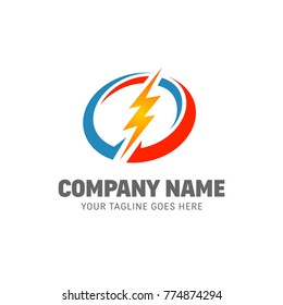 Electricity Logo - Power Energy Lightning Vector Template