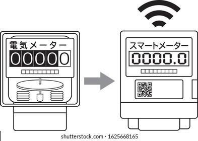 Electricity meter smart meter introduction icon illustration vector Translation: スマートメーター means Smart meter Translation: 電気メーター means Electric meter