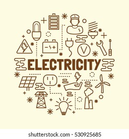 electricity minimal thin line icons set, vector illustration design elements