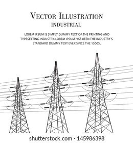Electricity pole over white. Vector illustration.