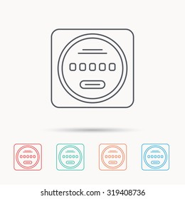 Electricity power counter icon. Measurement sign. Linear icons on white background. Vector