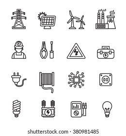 Electricity, power and energy icons - Line Style stock vector.