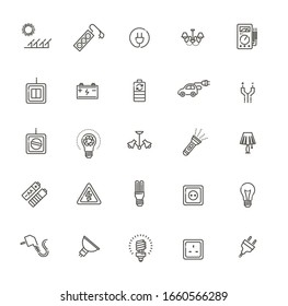 Electricity, power and energy. Vector icons