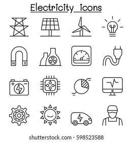 Electricity & Power icon set in thin line style