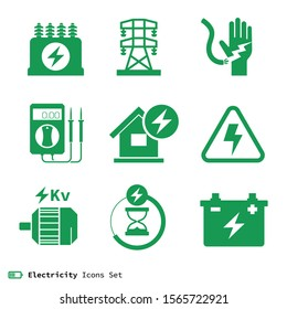 Electricity & power Icons signs Set