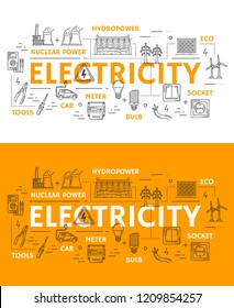 Electricity and power plants thin line icons. Vector electrician tools ammeter, voltmeter or wires and light bulb with hydropower, nuclear power plant and eco energy sources