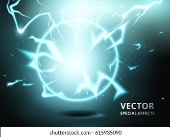 electricity ring element that can be used as special effect, teal background