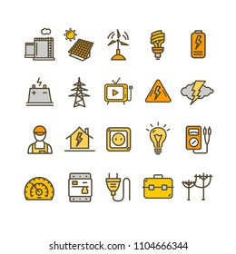 Electricity Signs Color Thin Line Icon Set Include of Home, Man, Pipe, Voltmeter and Socket. Vector illustration of Icons