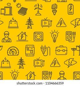 Electricity Signs Seamless Pattern Background on a Yellow Technology Electrical Connection and Elements Concept. Vector illustration of Energy Industry