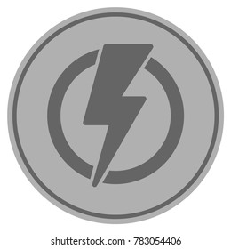Electricity silver coin icon. Vector style is a silver grey flat coin symbol.