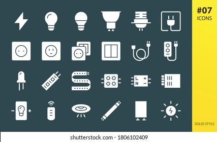 Electricity solid icons set. Set of lightning bolt, idea light bulb, gu10 lamp, lamp holder, plug, outlet, electric switch, extension cable, power strip, diode, led driver, solar energy glyphs icon