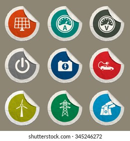 Electricity sticker icons for web