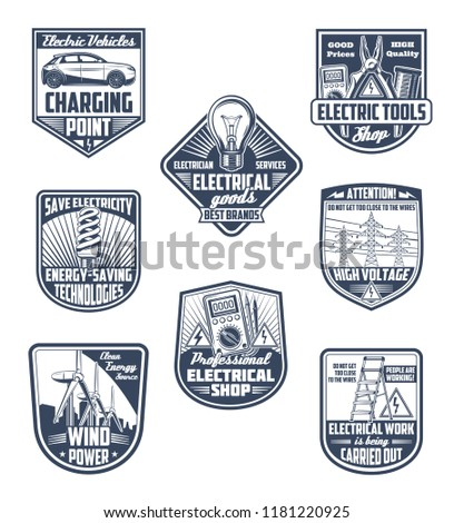 Electricity Supply Electric Service Energy Saving Stock Vector