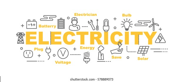 electricity vector banner design concept, flat style with thin line art icons on white background