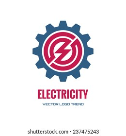 Electricity - vector logo template concept illustration. Gear factory sign. Technology mechanical symbol. Design element.