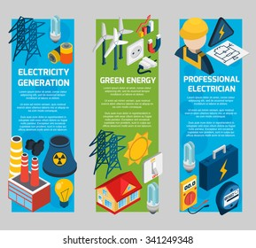 Electricity vertical banner set with isometric electrician elements isolated vector illustration