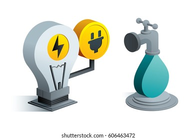 electricity water icon isometric 3d