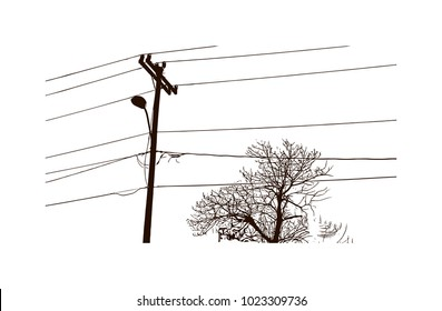 Electricity wire with pole of Hand drawn sketch illustration in vector.