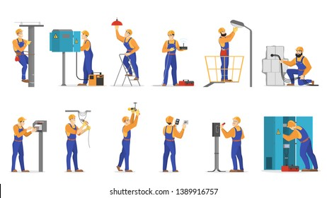 Electricity works set. Professional worker in the uniform repair electrical elements. Technician repair light and socket. Isolated vector illustration in cartoon style